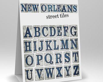 New Orleans Street Tiles Digital Alphabet Scrapbook Elements & PSD
