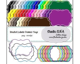 Bracket Tags-Frames Digital Labels Clipart -Scrapbooking Paper-300dpi-Digital Design Paper-INSTANT DOWNLOAD