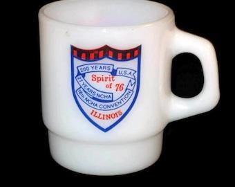 Vintage Anchor Hocking  Fireking Mug, Spirit Of 76' Mug, Advertisement Mug, Illinois Cup, Collectible Mug, Coffee Cup