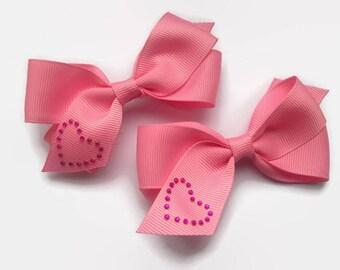 Cute Hair Clips, Baby Girl Gift, Pink Ribbon Hair Bows, Diamante Hearts, Pigtail Clips, Little Girls Hair Accessories