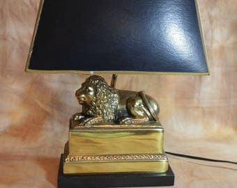 Vintage Brass Lion Desk Lamp