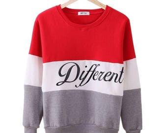 "Pullover ""Different"" Crew Neck Sweater"
