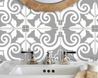 Tile Stickers Vinyl Decal Waterproof Removable For Kitchen Bath Floor Or Stair B173g Grey White