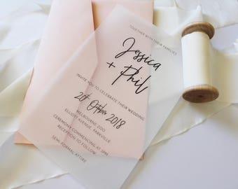 Transparent Wedding Invitations | Simplistic Design | Printed
