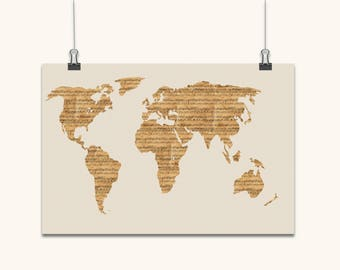 Map of The World from Old Sheet Music, Art Print, Canvas Art, Original Artwork, Musical Notes Map Of The World Art Canvas Old Style
