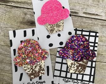 Cupcake Glitter Hair Clip
