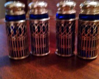 2 sets cobalt blue silverplate salt and pepper shakers by leonard in box