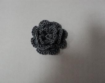 SET of 10 flowers gray CROCHET for EMBELISSEMENT ref: z37