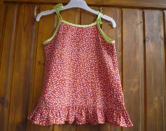 Knotted straps dress, size 18 months / 2 years, red with small flowers