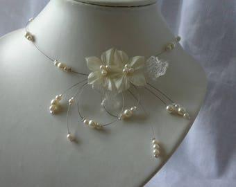 unique piece bridal wedding ivory organza silk flower bridal necklace