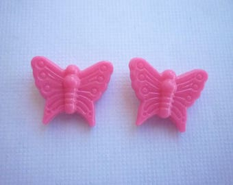 Sold in packs of 2 bright pink butterfly beads.