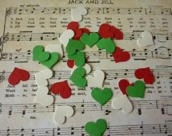 Set of 50 punch Christmas heart embellishments.