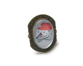 Bird ring and its cloud cabochon glass Adjustable ring