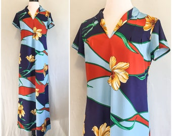 Vintage 1960s 1970s Polyester Hawaiian Maxi Dress Floral Print Nani of Hawaii Tiki Dress // 60s 70s Nani of Hawaii Long Maxi Dress Medium