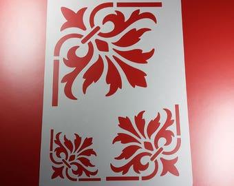Stencil Eckornament Palmette 3 sizes Acanthus-BS70