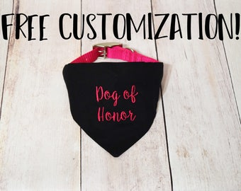 Wedding Dog Collar Bandana - Dog of Honor Bandana - Dog In Wedding - Wedding Dog Bandana - Dog Wedding Outfit - Dog Wedding Photo Prop - MOH