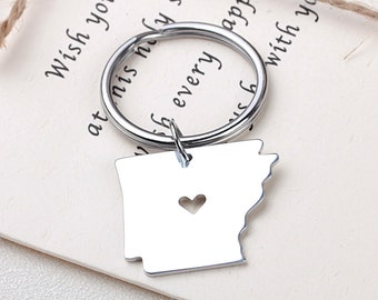 I heart Arkansas keychain - Arkansas keyring - State Charm - Map Jewelry - Map keychain