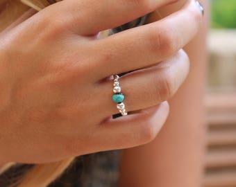 Silver and turquoise adjustable ring