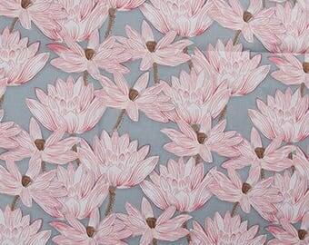 fabric cotton clothing pink blue Peony lotus 5 m
