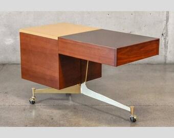 Tri-leg Brass and Walnut Rolling Bar Cart (2K6PV7)