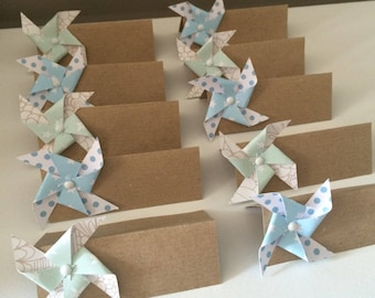 Place cards for baptism or marriage windmill