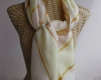 straw and coral @evysoie bayadere silk shawl, scarf