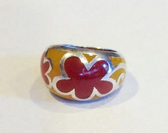 Vintage Sterling silver plastic ring brown yellow flowers vitrage