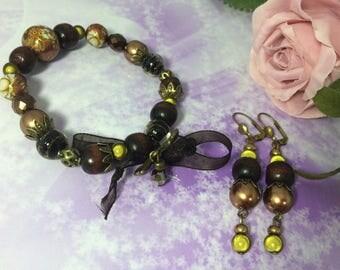 romantic dress khaki bronze Japanese beads