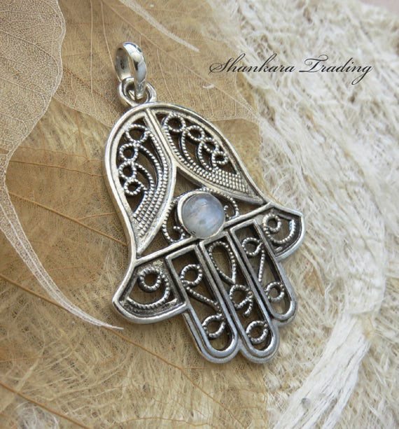 Sterling silver hamsa pendant with rainbow moonstone large like this item mozeypictures Image collections