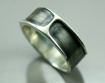 Mens ring, silver men ring, men wedding ring black, oxydized mens ring, men jewelry, minimal men ring, gift for him, engagement ring