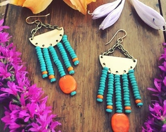 Boho turquoise stone and orange Czech glass beads fringe from brass and 14 kt gold earrings, gypsy, bohemian , native american , free people