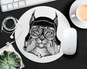 Cat Mouse Pad Animal in Glasses Cute Mouse Mat Funny Mouse Pad Gift Kids MousePad Hipster Mouse Mat Animal Lover Gift Cat Desk Accessories