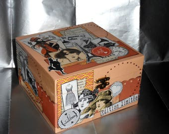 Jewelry box, secret or stuff: wooden scrappee on the theme of the roaring twenties to customize