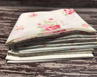 "Floral Fabric, Moda""Caroline"" by Brenda Riddle Designs,  6 Piece Fat Quarter Bundle in Cream, Cotton"