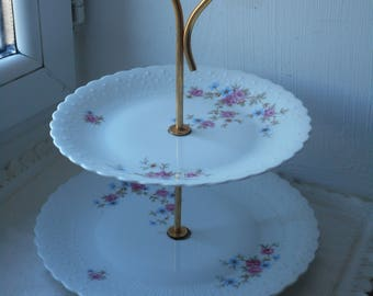 stunning vintage Limoges porcelain decorative two tier cake stand