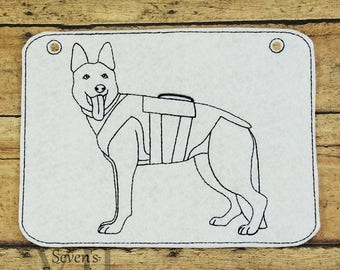 Service Dog In The Hoop Coloring Page Machine Embroidery Design