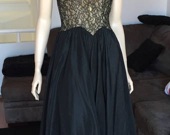50s 60s Dance Ball Formal Boned Bodice Lace Full circle Long Skirt BlacK Study