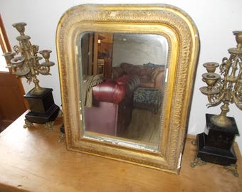 Antique French Mirror. Gilded Gesso Wood Mirror.  Antique French Gilt Mirror.  Antique French Wall Mirror.  1800's.
