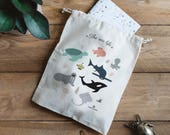 "String bag ""SEA LIFE"" 100% natural cotton - cotton bag with sea animals illustration- toys - socks"
