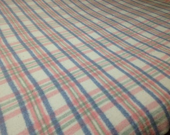 Vintage Quebec Brand Plaid Wool blanket, Vintage Wool Blanket, Plaid Wool Blanket,