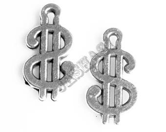 10 Dollar Sign Symbol Tibetan Silver Charms (381)
