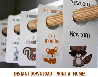 Woodland Creatures - Baby Boy Closet Dividers - Animals - Printable - Baby Room - Nursery Decor - Nursery Organization - Baby Shower Gift