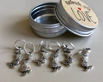 Knitting Stitch Markers, Set of 6 Stitch Markers, Mermaid Stitch Markers, Snag Free, Knitting Markers, Ring Markers, Crochet Markers, Luxury