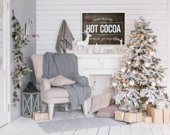 Hot Cocoa 34x26 MORE COLORS / christmas / hand painted / wood sign / farmhouse style / rustic