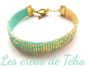 Very nice bracelet gold and Mint woven miyuki beads