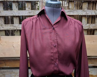 Vintage 1980s burgundy wine maroon Rouie full sleeve blouse