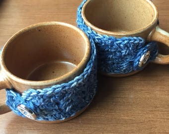 Buttoned Mug Cozy, drink sleeve, mug cozy, coffee cozy, tea sleeve
