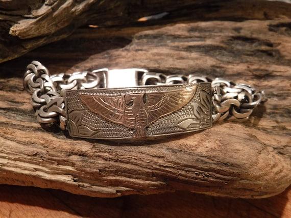 "Vintage  Southwestern Sterling Silver 14k Gold Identity Bracelet ID Bracelet 9"" Heavy 43.2 Grams Sterling Solid Gold Vintage Bracelet Mexico"
