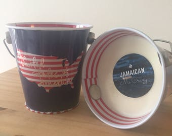 12oz USA Map Stars and Stripes Bucket Soy Wax Organic Scented Candle