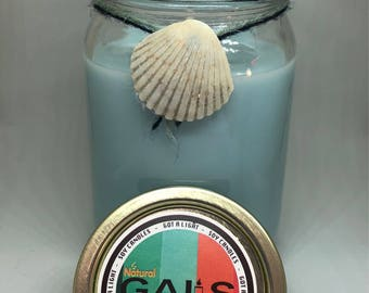 Ocean Breeze 12oz Mason Jar Soy Wax Organic Candle